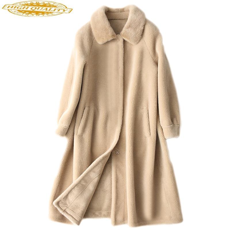 Real Fur Coat Women Mink Fur Collar Sheep Shearing 100% Wool Coat Female Long Women's Winter Luxury Jacket Suede KJ612