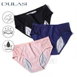 Women Panties Leakproof Menstrual Underwear Mid Waist Absorbency Waterproof Physiological Period Briefs Incontinence 3pcs DULASI