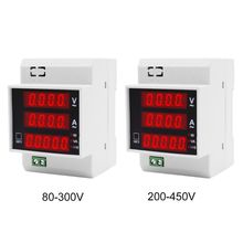 Digital Energy Meter Din Rail with Active Power Factor AC Ammeter Voltmeter AC 80-300V/AC 200-450V 100A ac power meter ac 80 300v 100a voltage current color lcd display panel digital voltmeter ammeter with current transformer ct