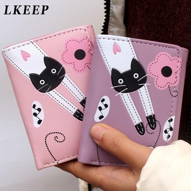 2020 New Women Wallet Cute Cartoon Cat Style Coin Purse Girl Clutch Short Wallet Change Purse Ladies PU Leather Card Holder