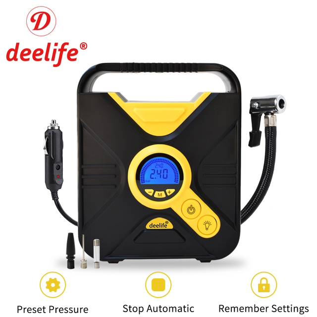 Deelife ดิจิตอลยางรถยนต์ Inflatable ปั๊มเครื่องอัดอากาศแบบพกพาแบบอัตโนมัติสำหรับรถยนต์ล้อยางไฟฟ้า 12V Mini Inflator ยาง