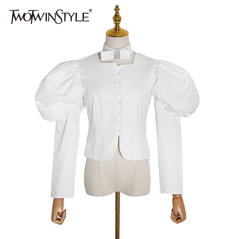 TWOTWINSTYLE Casual Polka Dot Women Blouses Square Collar Puff Long Sleeve Short Bow Shirt For Female Fashion Clothing 2020 Tide