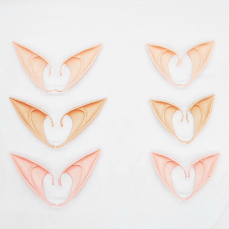 1 Pair Latex Elf Ear Soft Halloween Party Masks Adult Realistic Silicone Fairy Demon Masquerade Cosplay Accessories Fake Ears