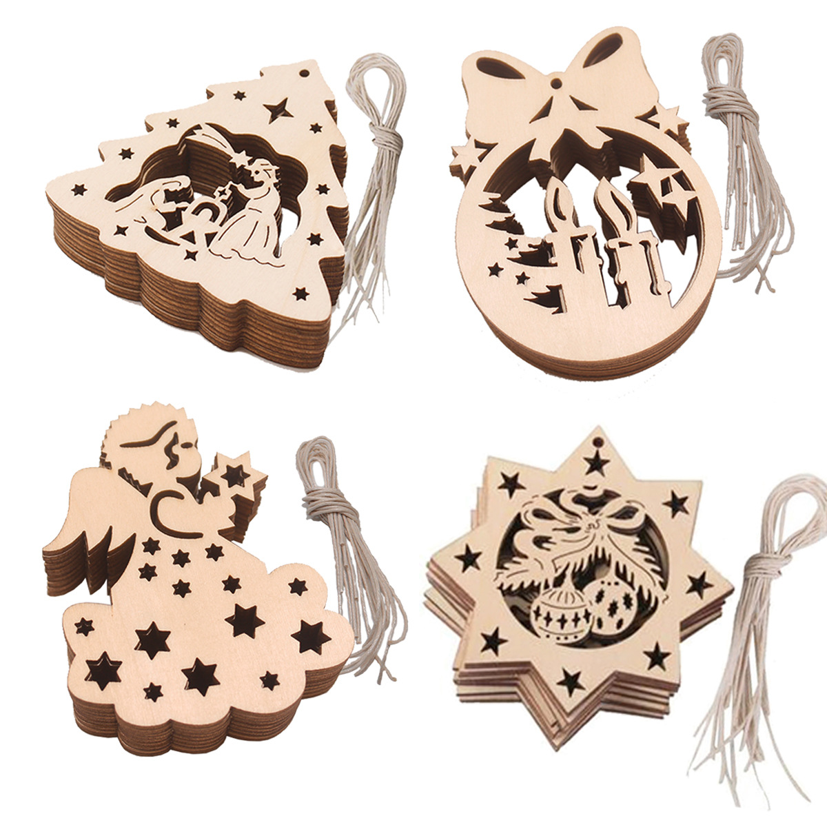 10pcs Wooden Candle Baubles Tags Christmas Trees Decorations Ornaments Christmas DIY Craft Toys Gifs For Children