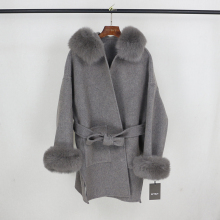 Oftbuy 2021 Echte Bontjas Winterjas Vrouwen Natuurlijke Fox Bontkraag Manchetten Kap Kasjmier Wol Wollen Oversized Dames Bovenkleding