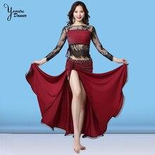 Новый танец живота костюмы шить хип шарф танец живота длинная юбка черного кружева рукавом красное платье для танцовщицы для взрослых Весна