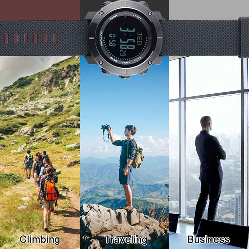 Multifunctional Outdoor Smart Digital Sports Wrist Watch Compass Altimeter Barometer Military Watch 5ATM Water Fitness Equipment