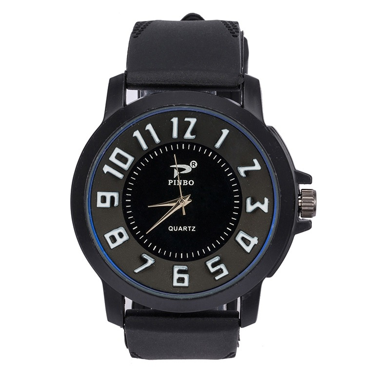 New Style Sports Casual Silicone Watch Women's Cool With Numbers Quartz Watch Western Style Stereo MEN'S Watch