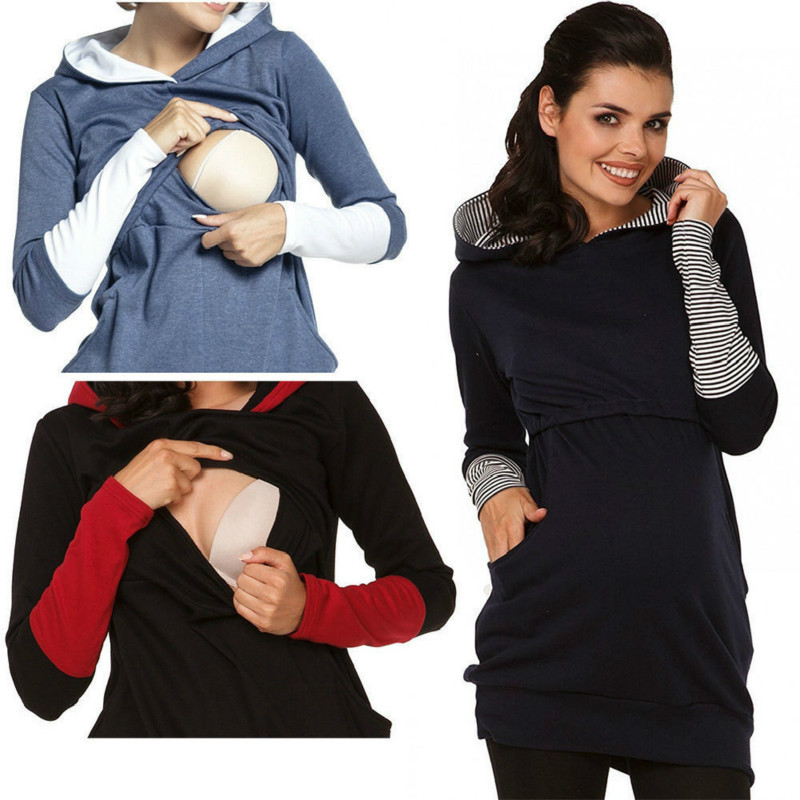 Warm Cotton Women's Maternity Hoodies Nursing Top Clothing Breastfeeding Hoodies For Pregnant Women Outwear Pregnancy Clothes