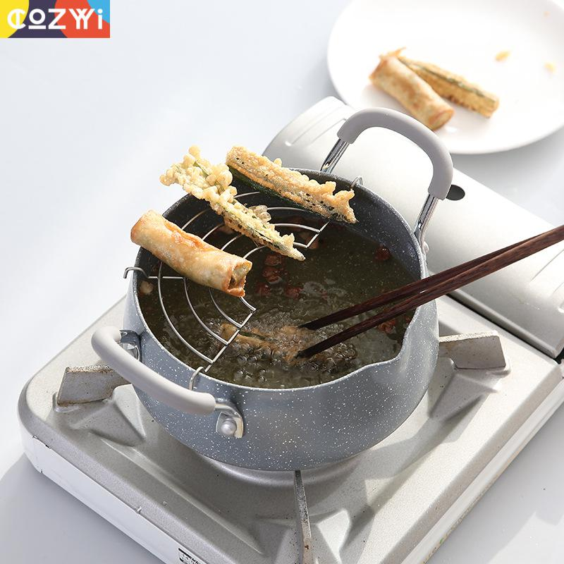 Japanese Frying Pan Large Capacity Non Stick Medical Stone Portable Outdoor Grill Pan With Oil Filter Bracket