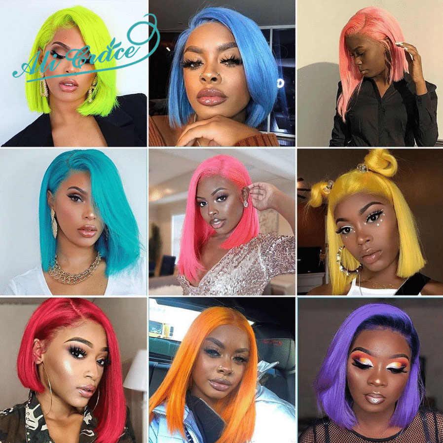 アリグレースボブ女性のためのショートブラントボブ人毛かつら赤ピンクグレーブロンドブラジルストレートヘアかつら