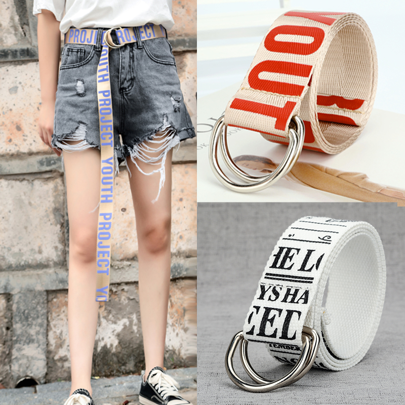 85-150cm Fashion Canvas Belts For Women Student Unisex Double D Ring Buckle Printing Letter Long Belts