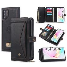 サムスン注 10 プラス財布ケース高級ジッパー着脱可能な磁気革カバーケース三星銀河 (注) 10 S10 s9 プラス