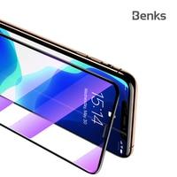 Benks protetor de tela de prevenção de poeira para iphone 11/11pro/11 promax/xr/xs max cobertura completa anti azul litght filme de vidro temperado|Protetores de tela de telefone| |  -