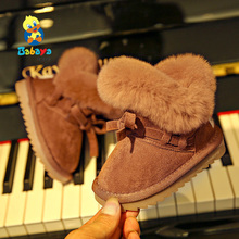 Toddler Boot Baby-Girls Winter Kids Fashion Genuine-Leather Plush Warm Thick Ski