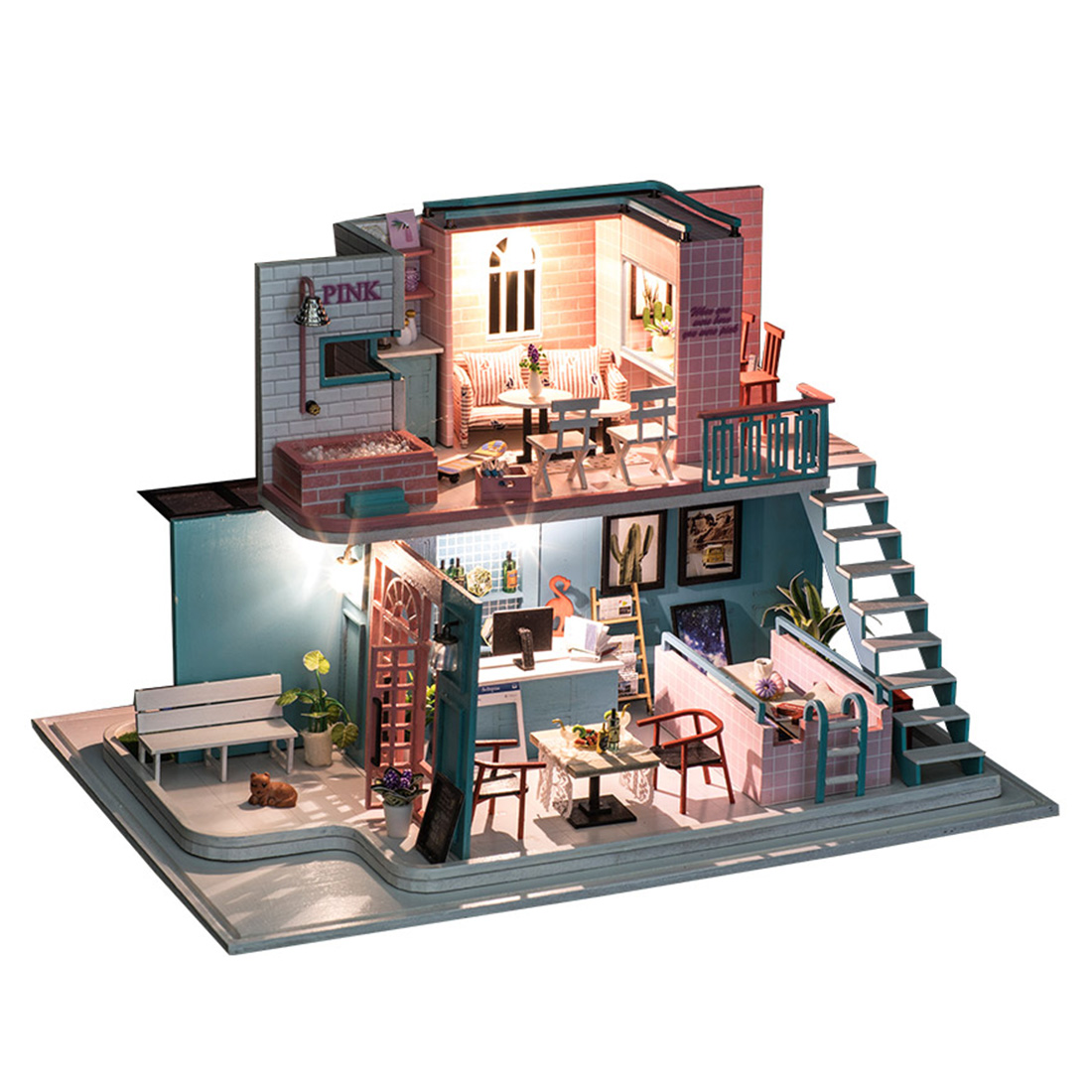 Bricolage créatif à la main thème en bois cabine assemblage bâtiment modèle ensemble de jouets-café rose