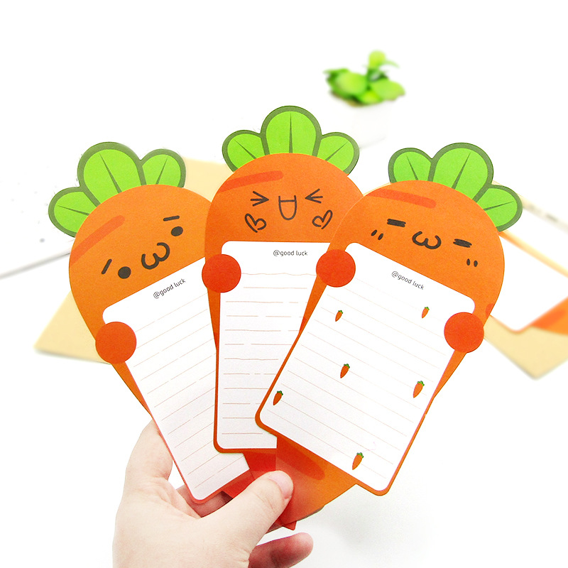 1set Carrot Shape Letter Pad Paper Kraft Paper Envelope Greeting Card Cartoons Modeling Invitation Letterhead Writing Postcard