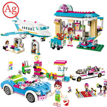 Girl Friends Toys Heartlake Private Jet Mia Roadster House Car Building Block Compatible Legoed Princess Livi Olivia Limo Bricks(China)