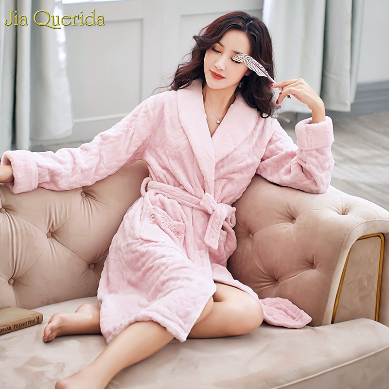 Pink Lingerie Housecoat Quality Flannel Cozy Bathrobe Lapel Lace Applique Pockets Belted Kimono Elegant Night Robe Womens Robe