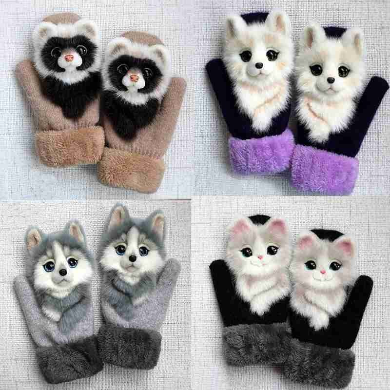 New Animal Cat Dog Owl Wolf Design Gloves Kid Winter Warm Gloves 22cm Long Cute Girl Mittens Full Fingers Fashion Women Gloves