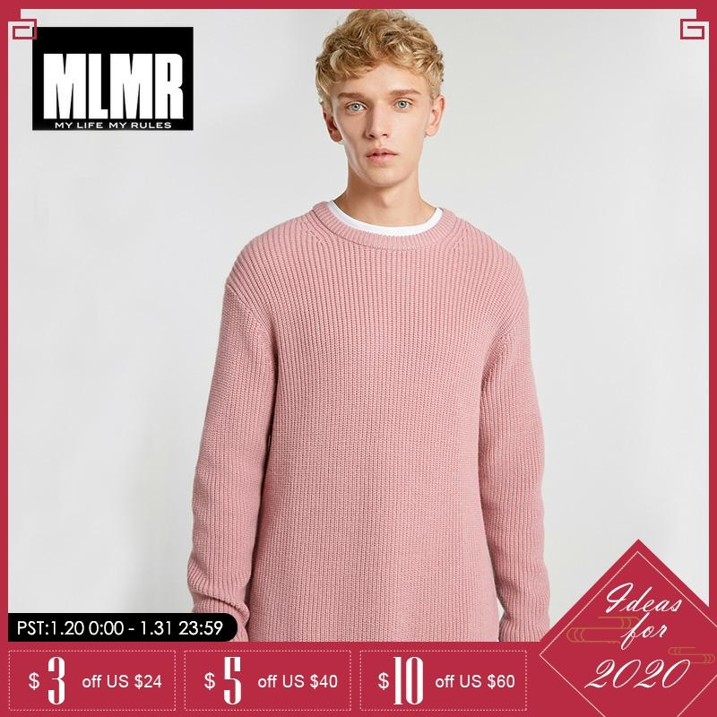 MLMR Mens Solid Color Round Neck Pullover College Style Winter Sweater   218425502