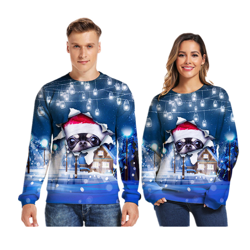 3d Christmas Sweater O Neck Couple Print Dog Novelty Ugly Christmas Sweater Unisex Men Women Long Sleeve Pullover Jumpers