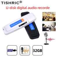 TISHRIC U-Disk Mini Voice Recorder Pen Digital Dictaphone Audio Recorder Sound USB 2.0 Flash Drive for 1-32GB Micro SD TF Card