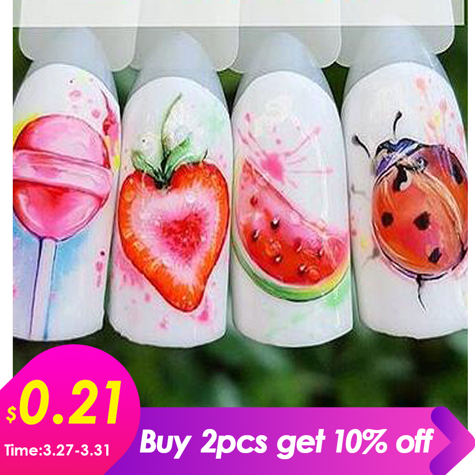 1PCS Strawberry Summer Fruit Drinking Stickers For Nails Manicure Nail Art Design Water Transfer Watermark Beauty Decals TRSTZ