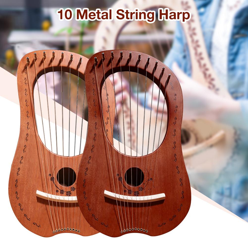 Lyre Harp 10 Metal String Harp Mahogany Portable Small Harp With Durable Steel Strings Wood String Musical Instrument Harp