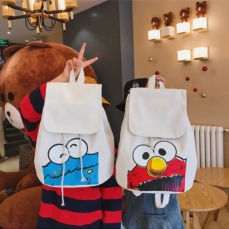 2019 Women Cartoon Fashion Female Bagpack Sesame Street Drawstring Canvas Cute Funny Quality Shoulder Teenager Girls School Bags