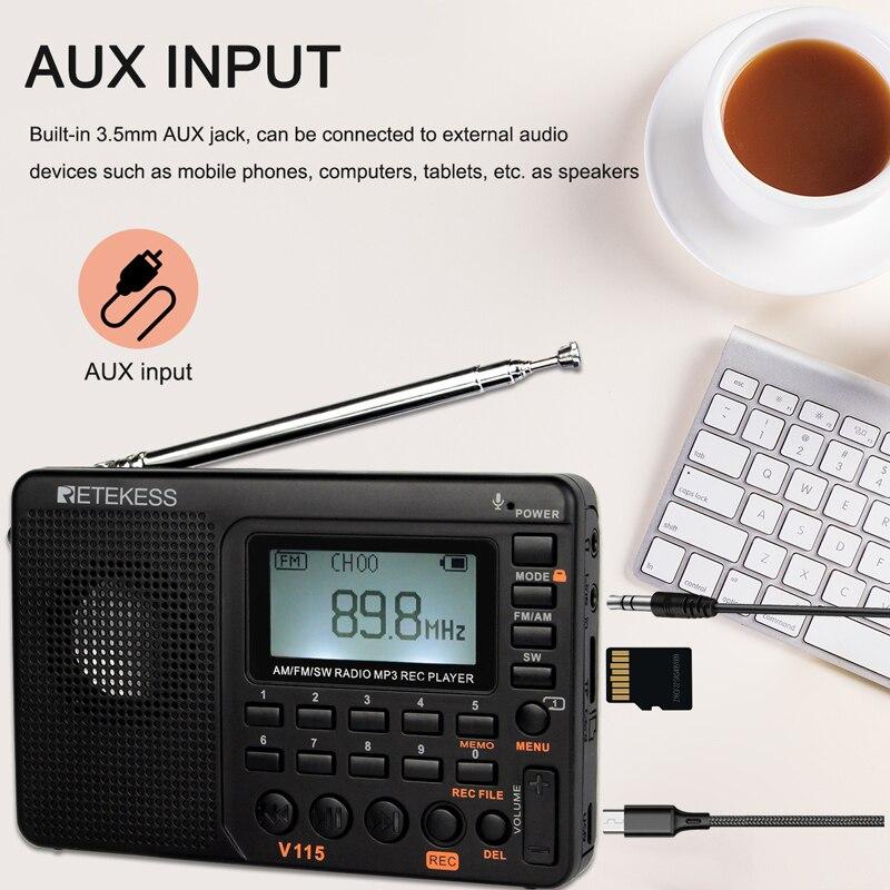 RETEKESS V115 Radio AM FM SW Pocket Radio Shortwave FM Speaker Support TF Card USB REC Recorder Sleep Time 4