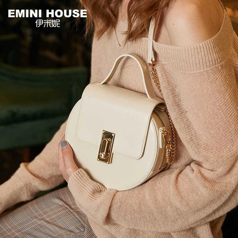 Bolsa de ombro feminina em forma redonda cor sólida crossbody bags para mulher emini casa aleta split couro alça superior sacos de corrente