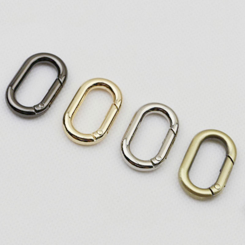 DIY 2PCS Metal Spring Oval Ring Keyring Bag Belt Strap Buckle Hot Sale Dog Chain Snap Clasp Gold Silver Black Bag Hanger Chain