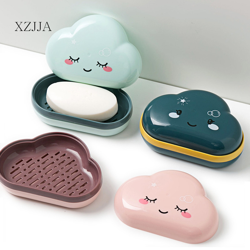 XZJJA Cute Cartoon Clouds Shape Soap Box Bathroom Drain Soap Holder Portable Travel Soap Protect Case Bathroom Accessories
