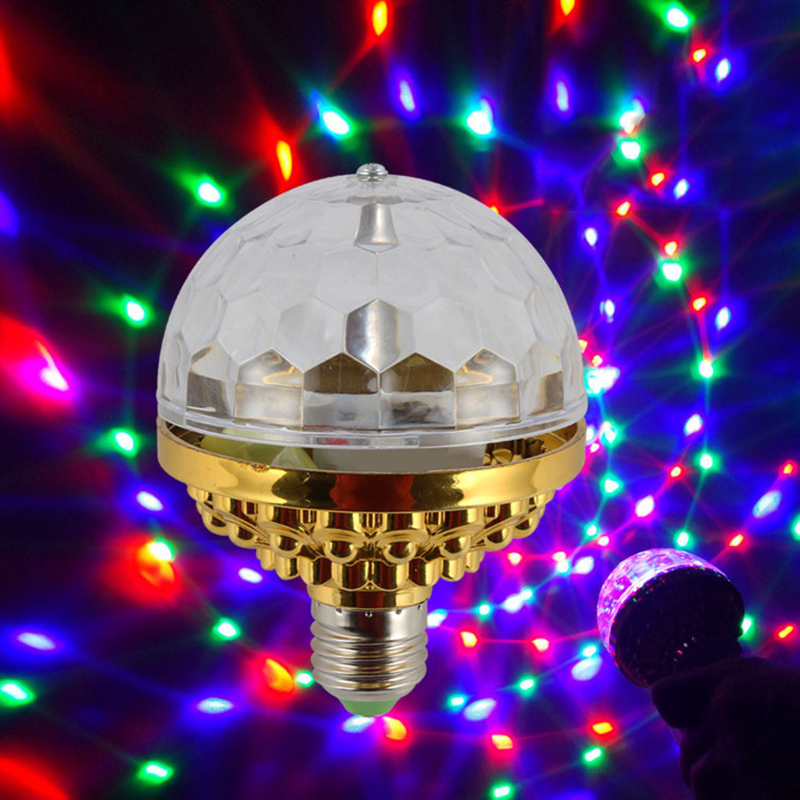 LED Colorful Disco Party Effect Lamp Crystal Rotating Magic Ball LEDs Stage Light Bulb For Christmas Home Party Lighting Lamp