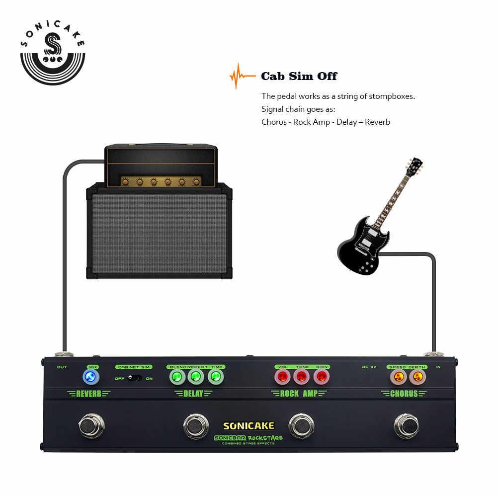 Sonicake تأثيرات الغيتار متعددة دواسة روك المرحلة 4 في 1 آثار الغيتار دواسة مع نموذج جوقة تشويه تأخير ريفير QCE-10