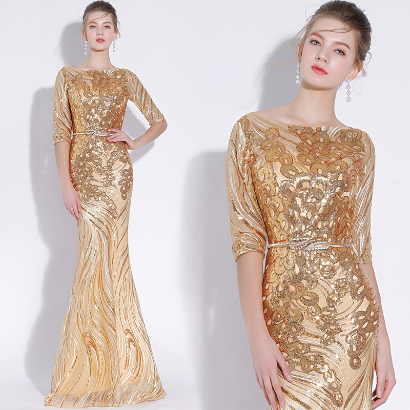 Gold Evening Dresses Bling Sequined 2019 Mermaid Half Sleeves Long Floor Length Prom Gown Walk Beside You robe de soiree Formal in Evening Dresses from Weddings Events