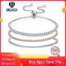 Женские блестящие теннисные браслеты из стерлингового серебра 925 пробы с цепочкой, роскошные оригинальные ювелирные изделия из стерлингового серебра GXB029