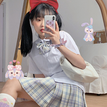Japanese-Style College-Style Short-Sleeved Bow Tie Shirt Top + Plaid Pleated Skirt JK Uniform Two Piece Suit Women's Summer
