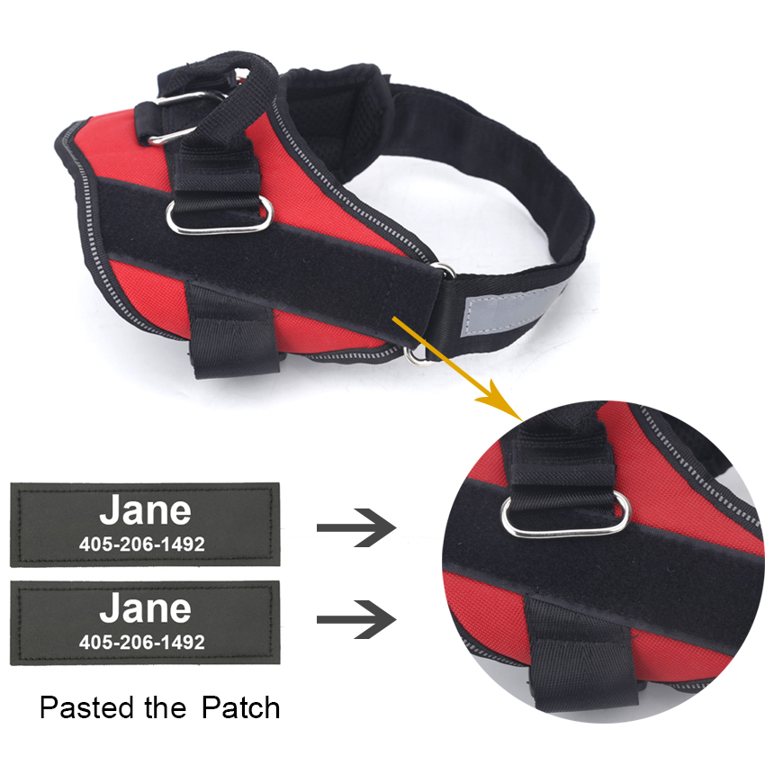 ID-ME Custom NO PULL Reflective Dog Harness - Breathable & Adjustable Pet Harness For All Dog Sizes - Vest ID Emergency Patch