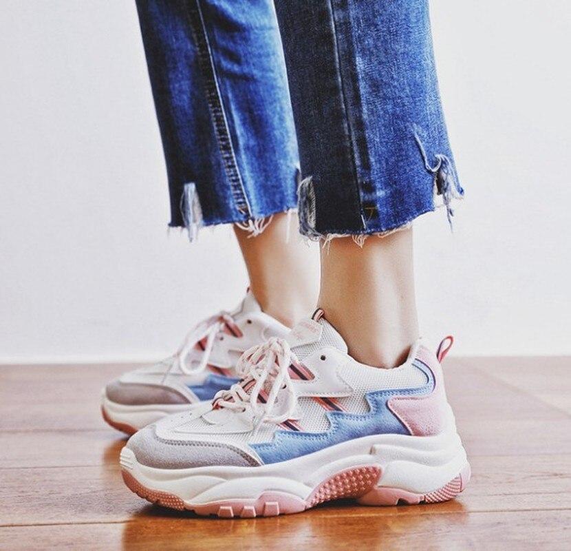 2019 primavera outono moda senhoras sapatos casuais para mulher vulcanizada sapatos respirável plataforma selvagem sapatos femininos tênis HX-01