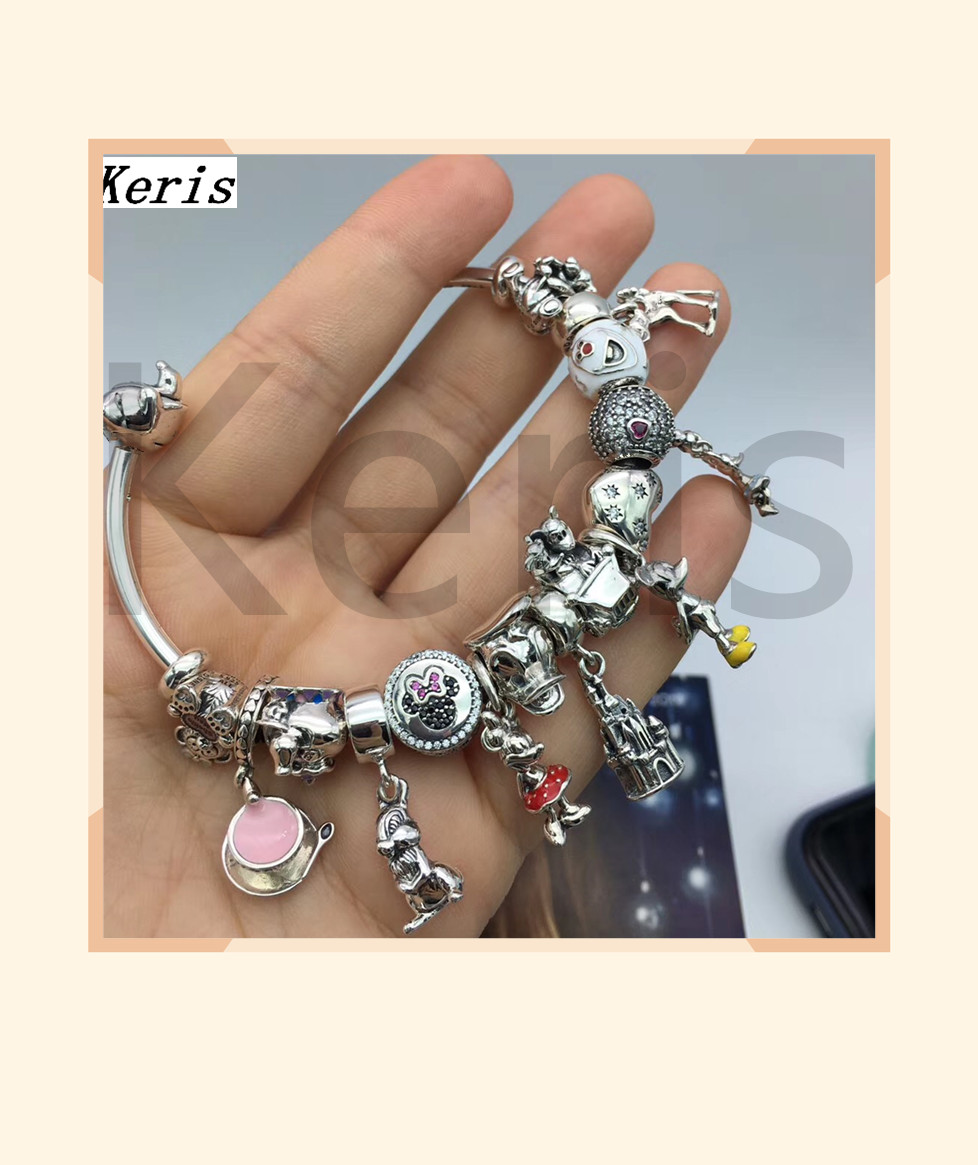 High Quality 1:1 100% Silver Mouse Pendant DIY Beads With Open End Bracelet Free Of Charge