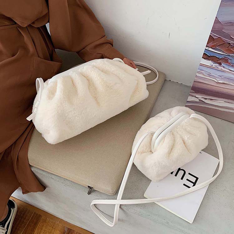 Women Messenger Bag Autumn Winter New Shoulder Bags Female Comfortable Fluff Clutch Designer Ladies Handbag Pleated Dumpling Bag
