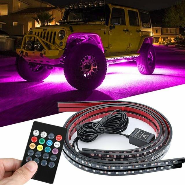 Flexible RGB 48 LED Streifen Unter Auto Rohr Underglow Unterboden System 4Pcs Neon Lichter Kit Für Heißer Verkauf