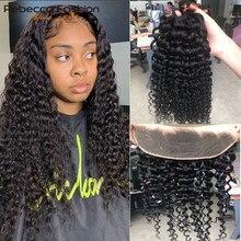 Rebecca – mèches brésiliennes Remy avec Frontal Lace Closure, cheveux naturels ondulés, lots de 3