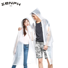 Zenph Fashion Transparent Raincoat EVA Plastic Environmental Protection Adult Outdoors Hiking Camping Fishing