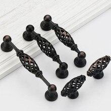 Ручки и ручки для шкафа из черного цинкового сплава, клетка для птиц, мебельные ручки, ручки для ящика, кухонные ручки, ручка для шкафа