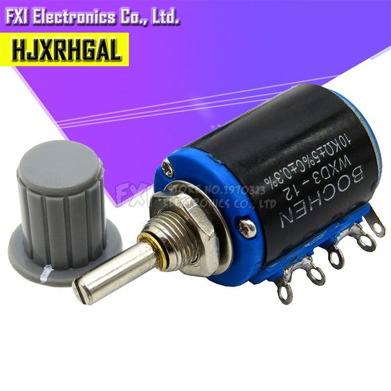 1 pces WXD3-12 1 w 10 k 4.7 k 3.3 k 2.2 k 1 k série resistência anel multi-círculo precisão fio-ferida potenciômetro + 1 pcs cinza botão