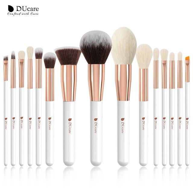 DUcare 15 sztuk pędzle do makijażu zestaw profesjonalne naturalne kozy szczotki do włosów fundacja Powder Contour Eyeshadow pędzle do makijażu