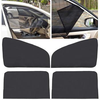 Wyprzedaż 4 szt Przednia i tylna boczna szyba przyciemniana osłona przeciwsłoneczna osłona z siatki osłona przeciwsłoneczna izolacja tkanina przeciw komarom tarcza UV Protector tanie i dobre opinie CN (pochodzenie) Mesh Fabric+Magnetic Car Side Window Sunshade Black 4pcs Constructed with flexible mesh no room inside the car